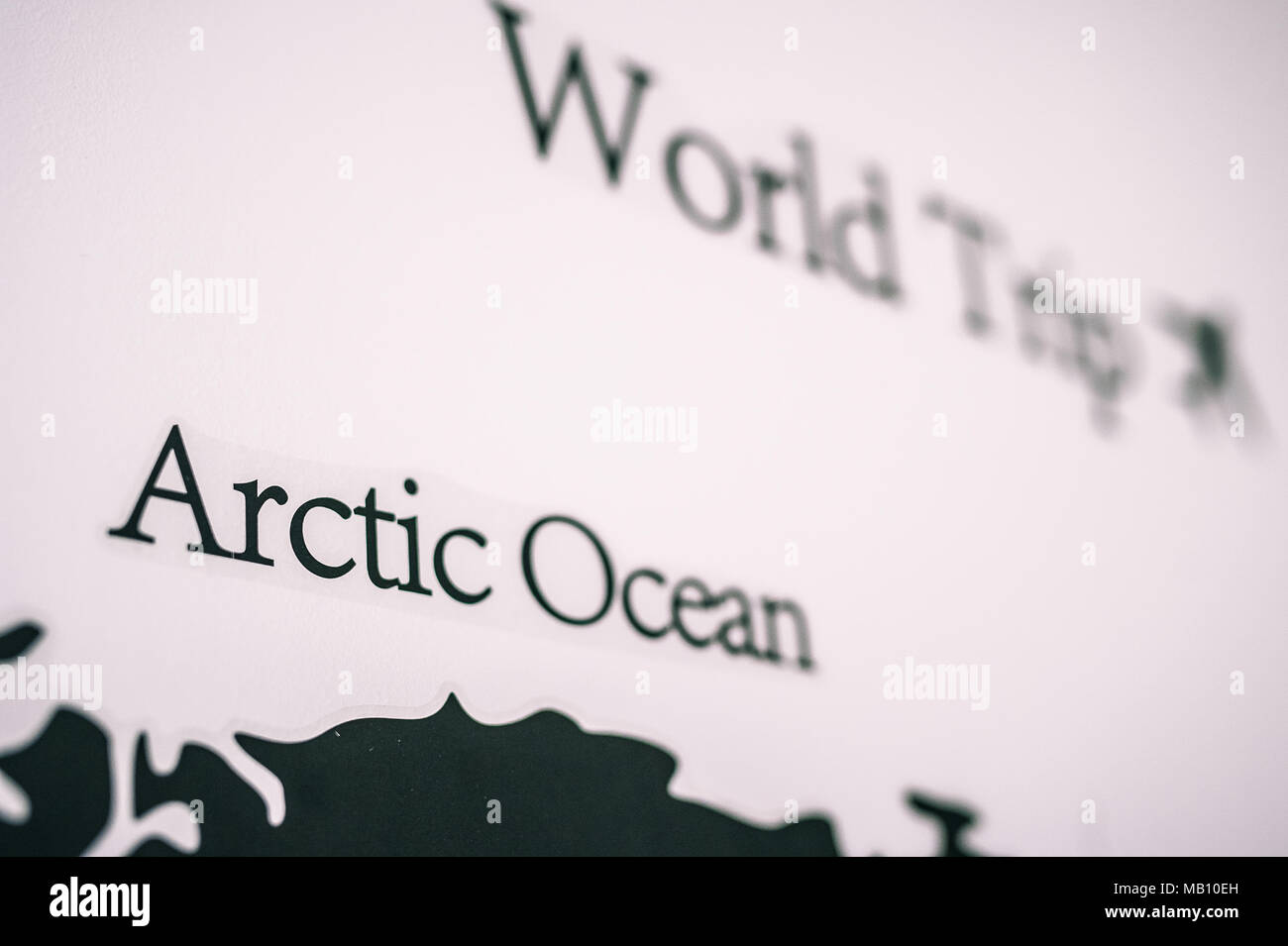 World map on the wall - Stock Image