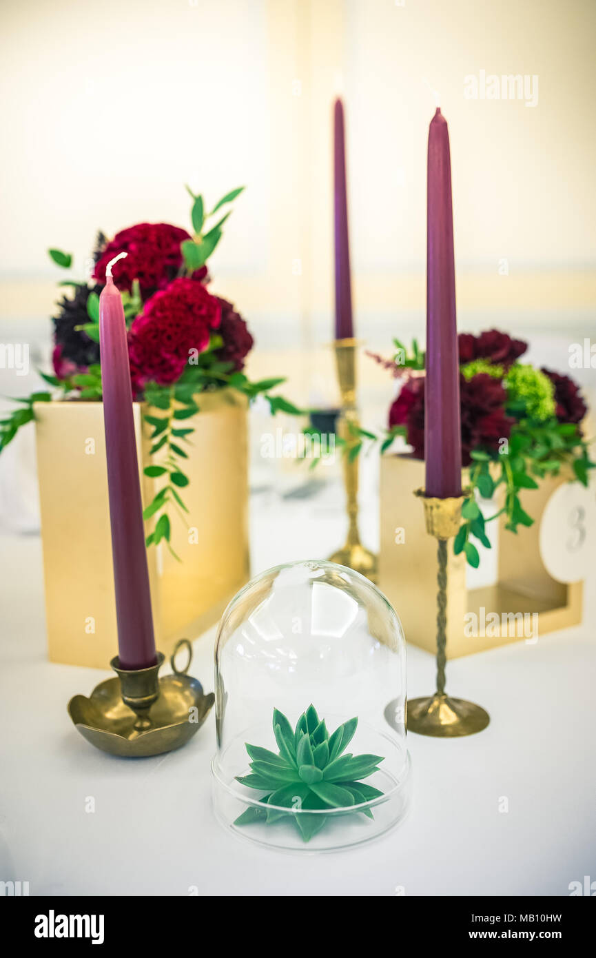 Home decor: purple candles and flowers - Stock Image