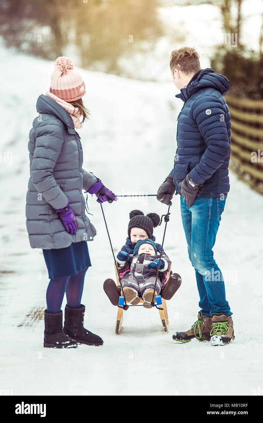Family time in winter - Stock Image