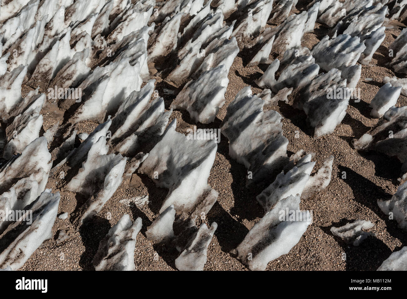 Ice formations in the Siloli desert of Bolivia near the Uyuni salt flat, South America. Stock Photo
