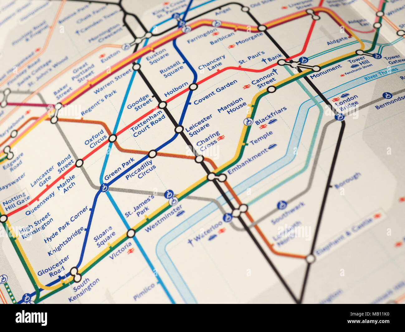 Street Map Of London With Tube Stations.London Uk Circa 2018 Map Of London Underground Tube Stations