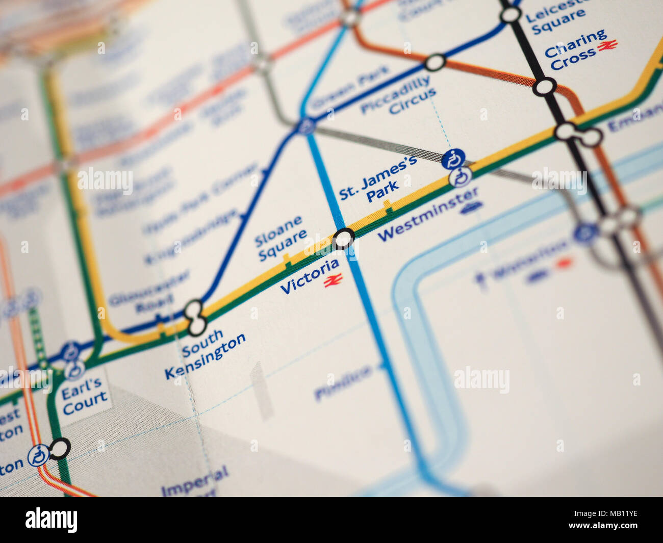 london uk circa 2018 map of london underground tube stations with selective focus on victoria station