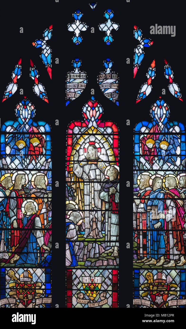 The Bardsley Memorial window 'The Great Commission' by Veronica Whall (1937), Leicester Cathedral Stock Photo
