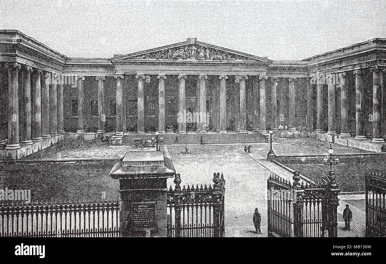 Britisches Museum London, England, 1848, The British Museum, located in the Bloomsbury area of London, United Kingdom, is a public institution dedicated to human history, art and culture, digital improved reproduction of an original print from the year 1895 - Stock Image