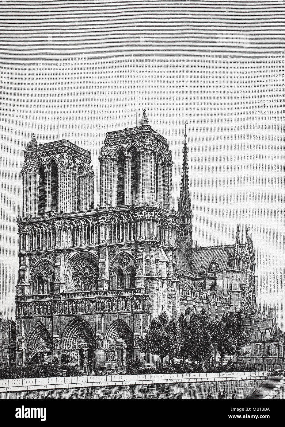 Notre Dame, Paris, Frankreich. Notre-Dame de Paris, Our Lady of Paris, also known as Notre-Dame Cathedral or simply Notre-Dame, is a medieval Catholic cathedral on the Île de la Cité in the fourth arrondissement of Paris, France, digital improved reproduction of an original print from the year 1895 - Stock Image