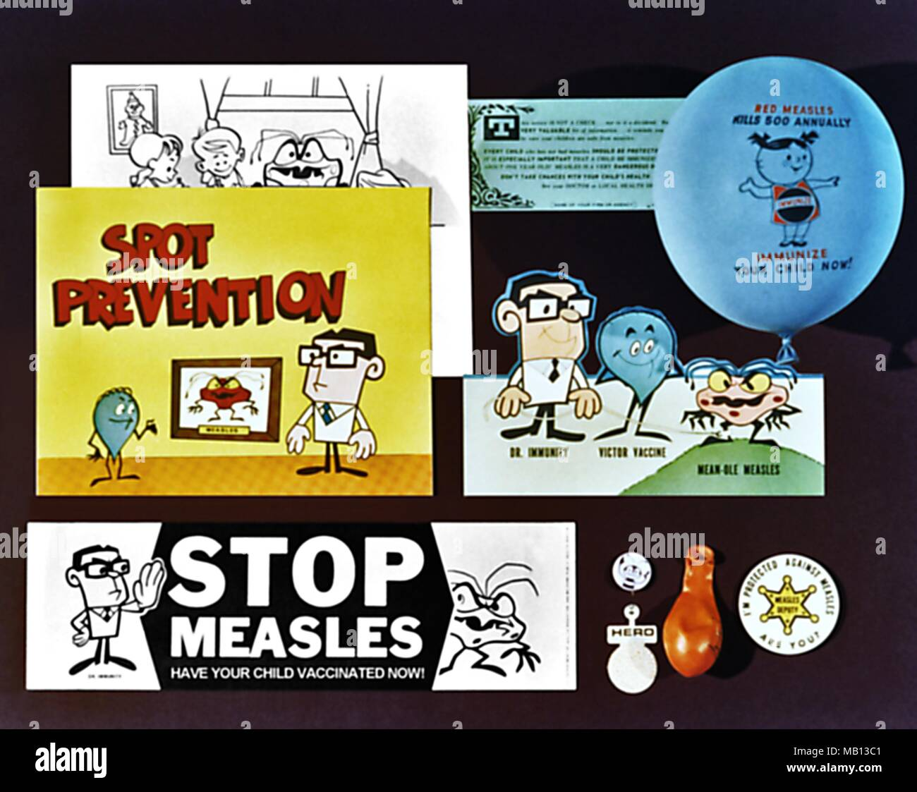 Marketing materials used to promote measles vaccination participation in the U.S. Image courtesy Centers for Disease Control (CDC), 1960. () - Stock Image