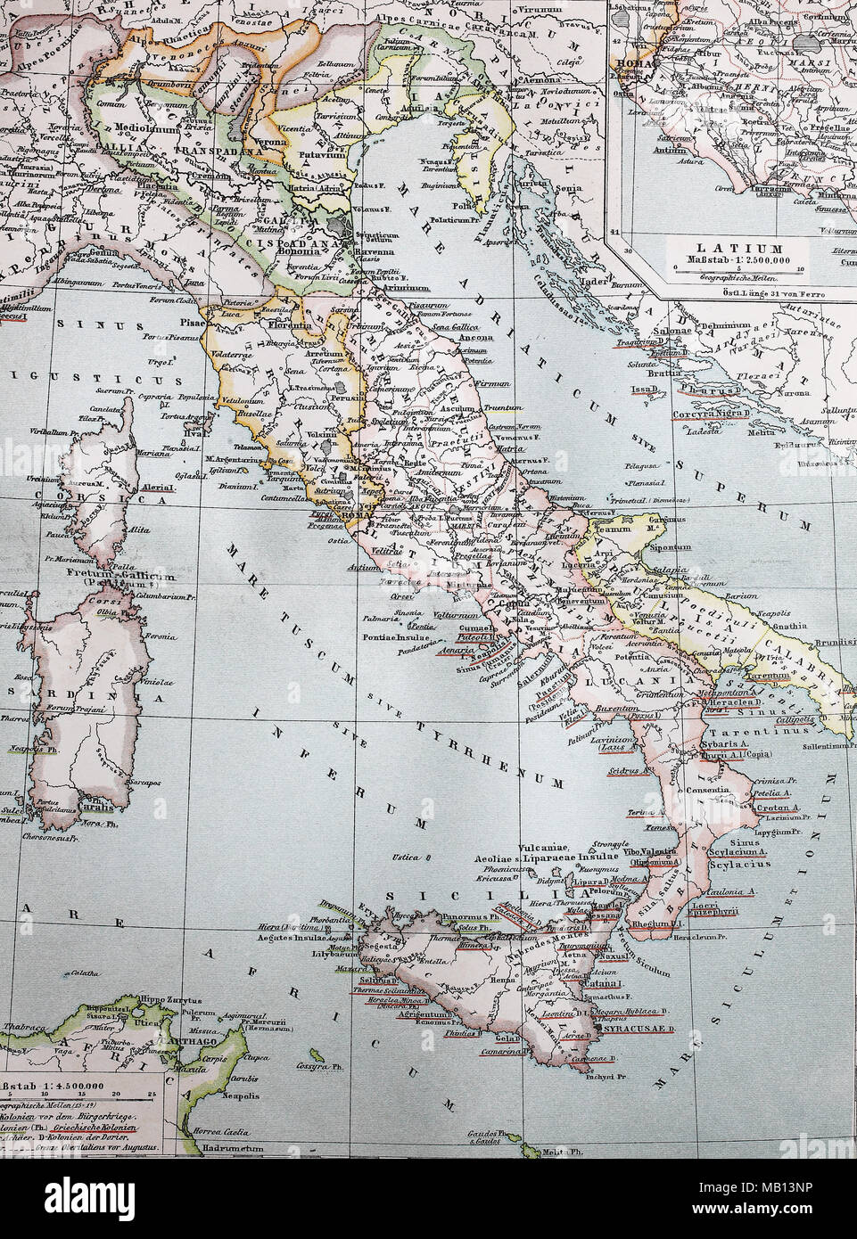 Landkarte von Italien im Jahre 1895, map of Italy, digital improved reproduction of an original print from the year 1895 - Stock Image