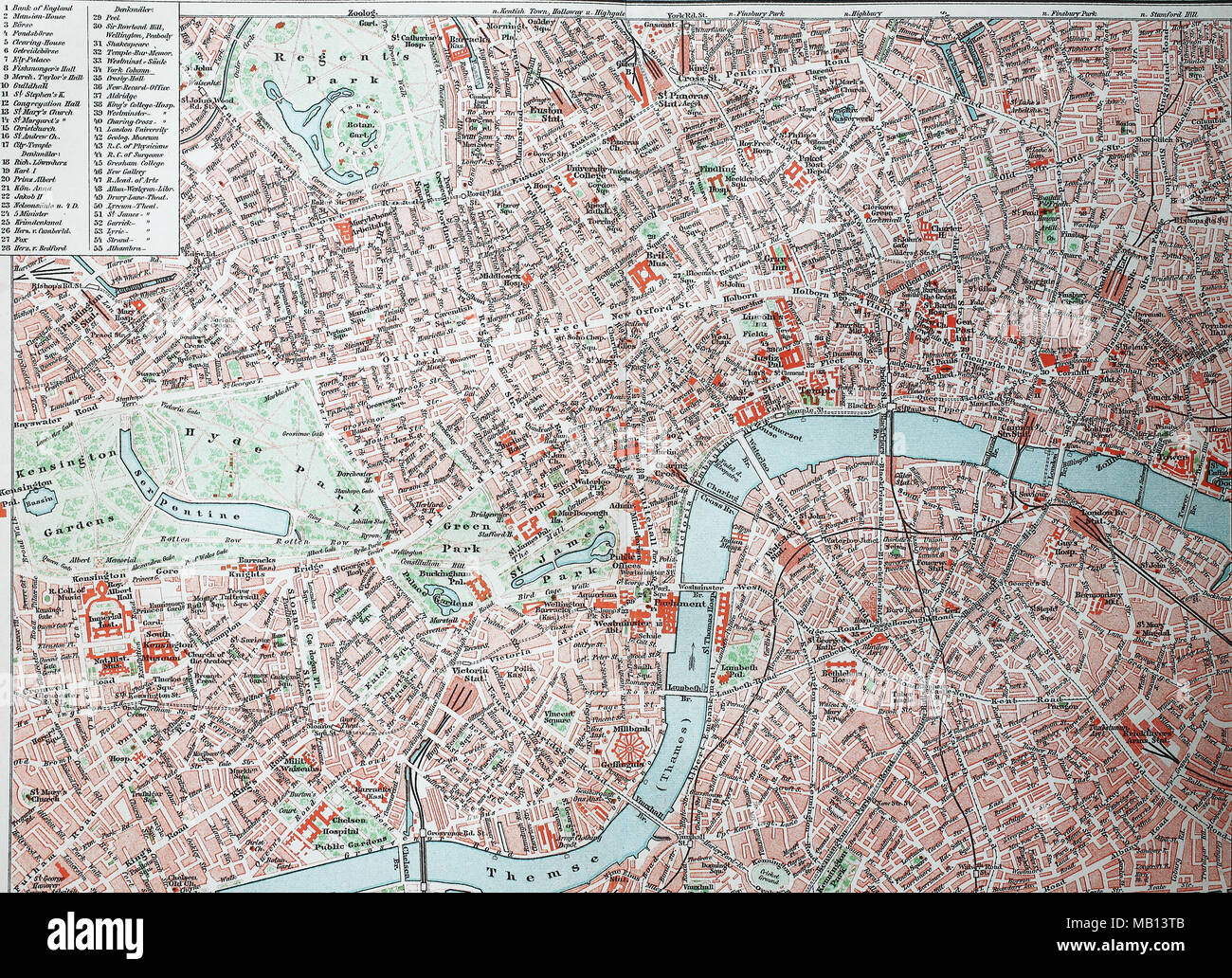 Stadtplan von London, City und Westend, England, 1895, city map of London, digital improved reproduction of an original print from the year 1895 - Stock Image