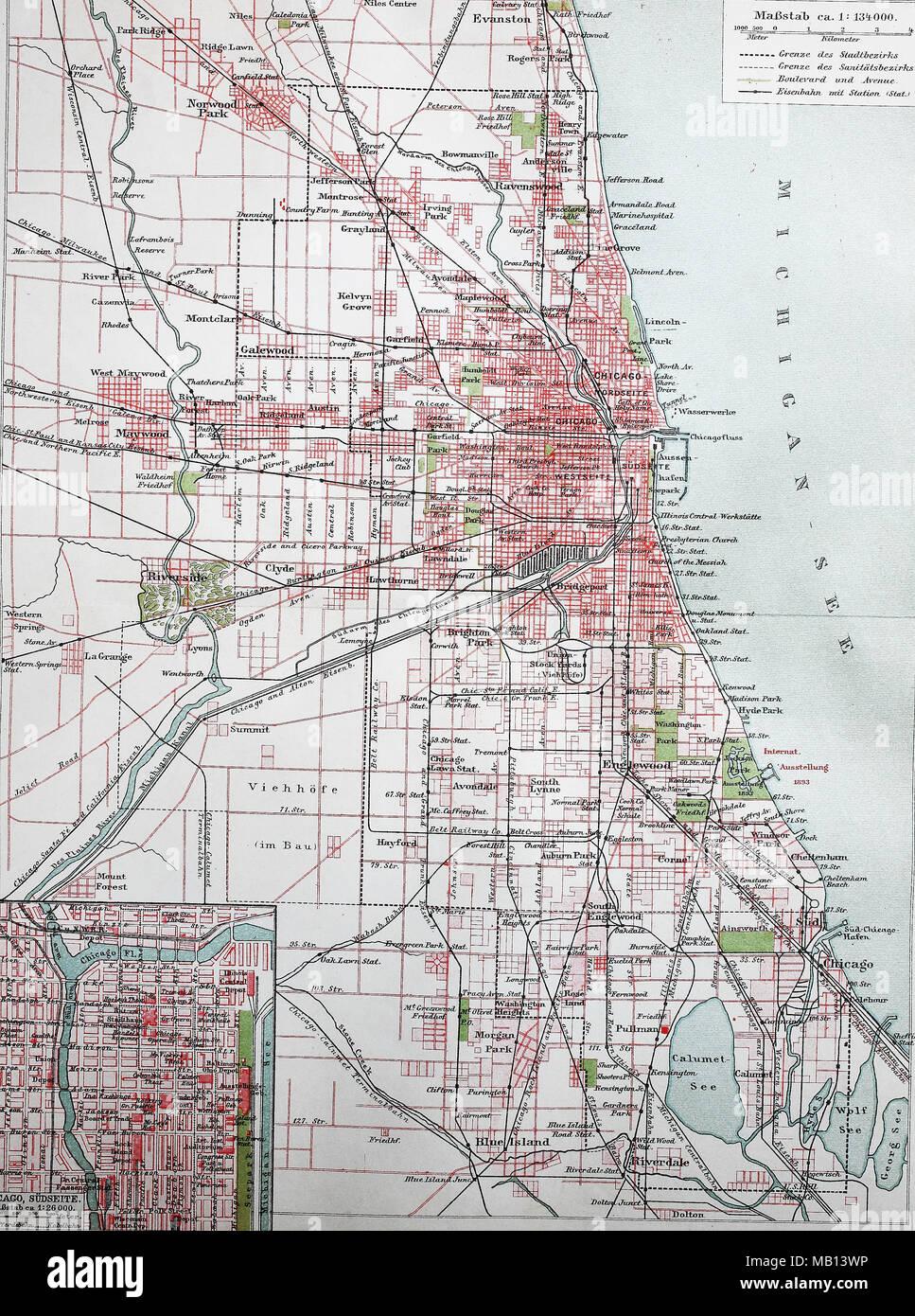 Map Of America Showing Chicago.Stadtplan Von Chicago 1895 City Map Of Chicago America