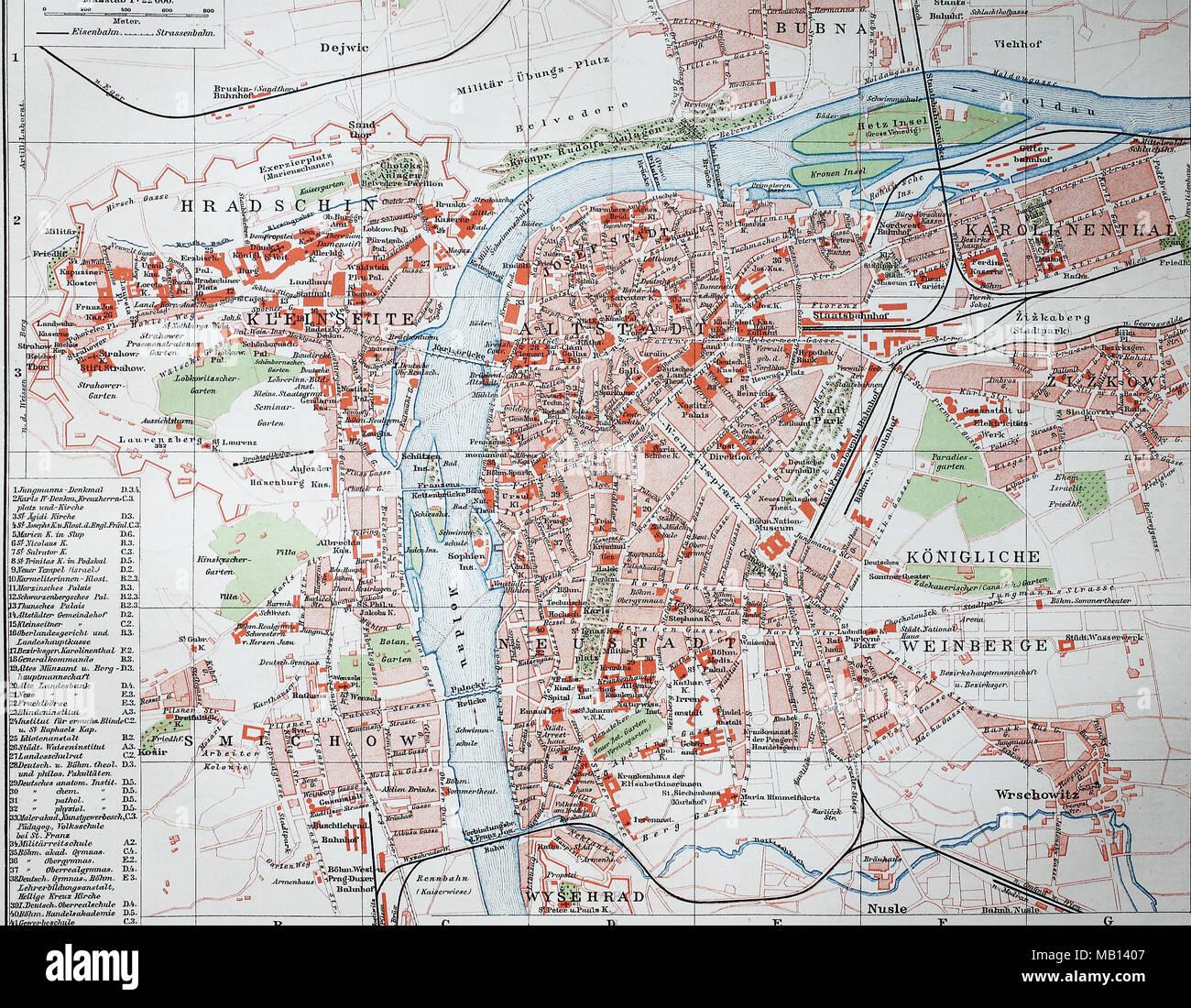 Stadtplan von Prag, Tschechische Republik, 1895, city map of ...