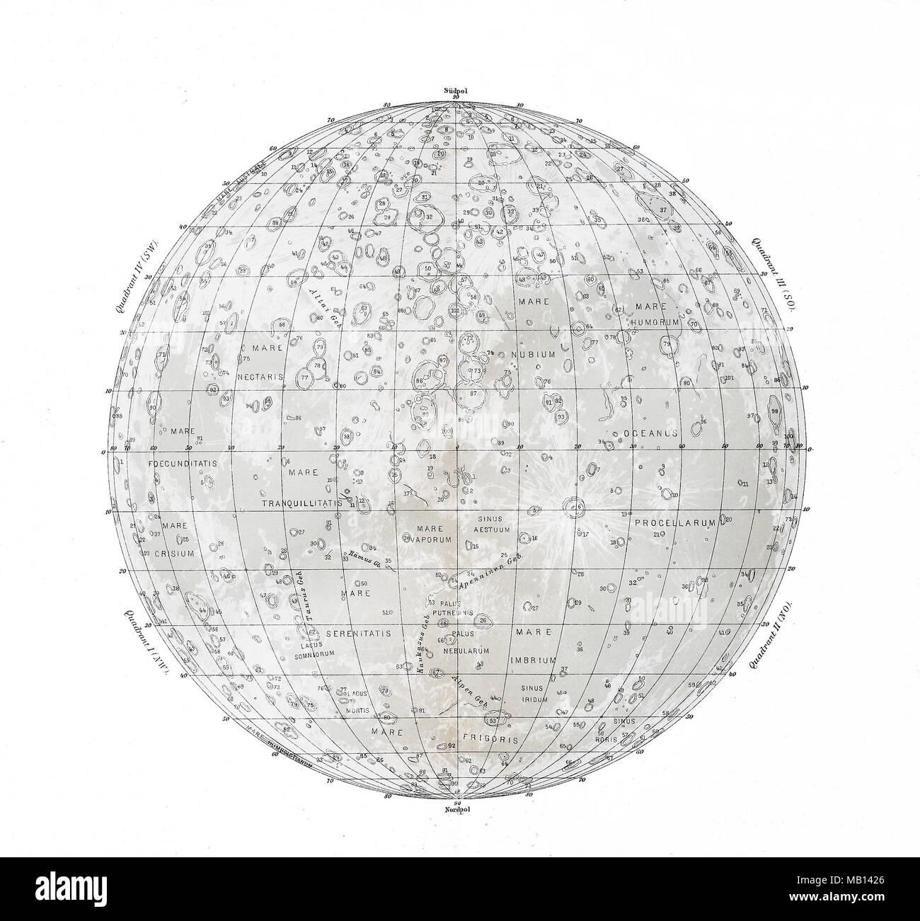 Landkarte des Mondes aus dem Jahre 1895, map of the moon from the ...