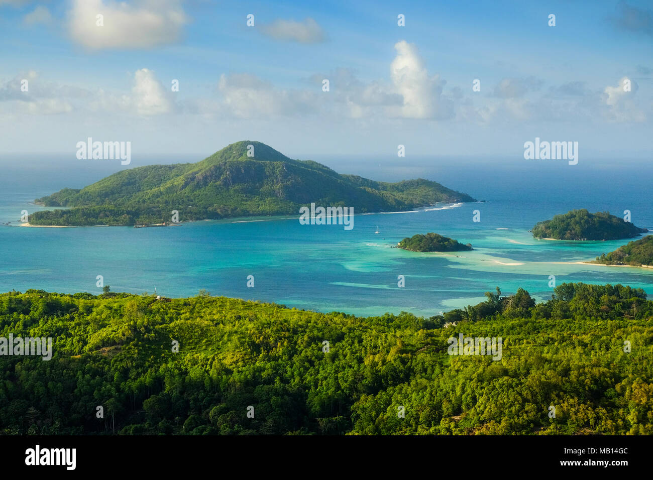 Aerial view of St Anne Marine National Park from Ille au Cerf, Seychelles - Stock Image