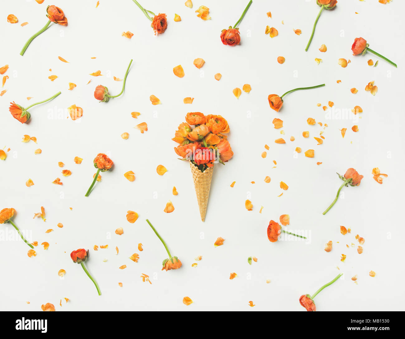 Flat-lay of waffle sweet cone with orange buttercup flowers over white background, top view. Spring or summer mood concept Stock Photo