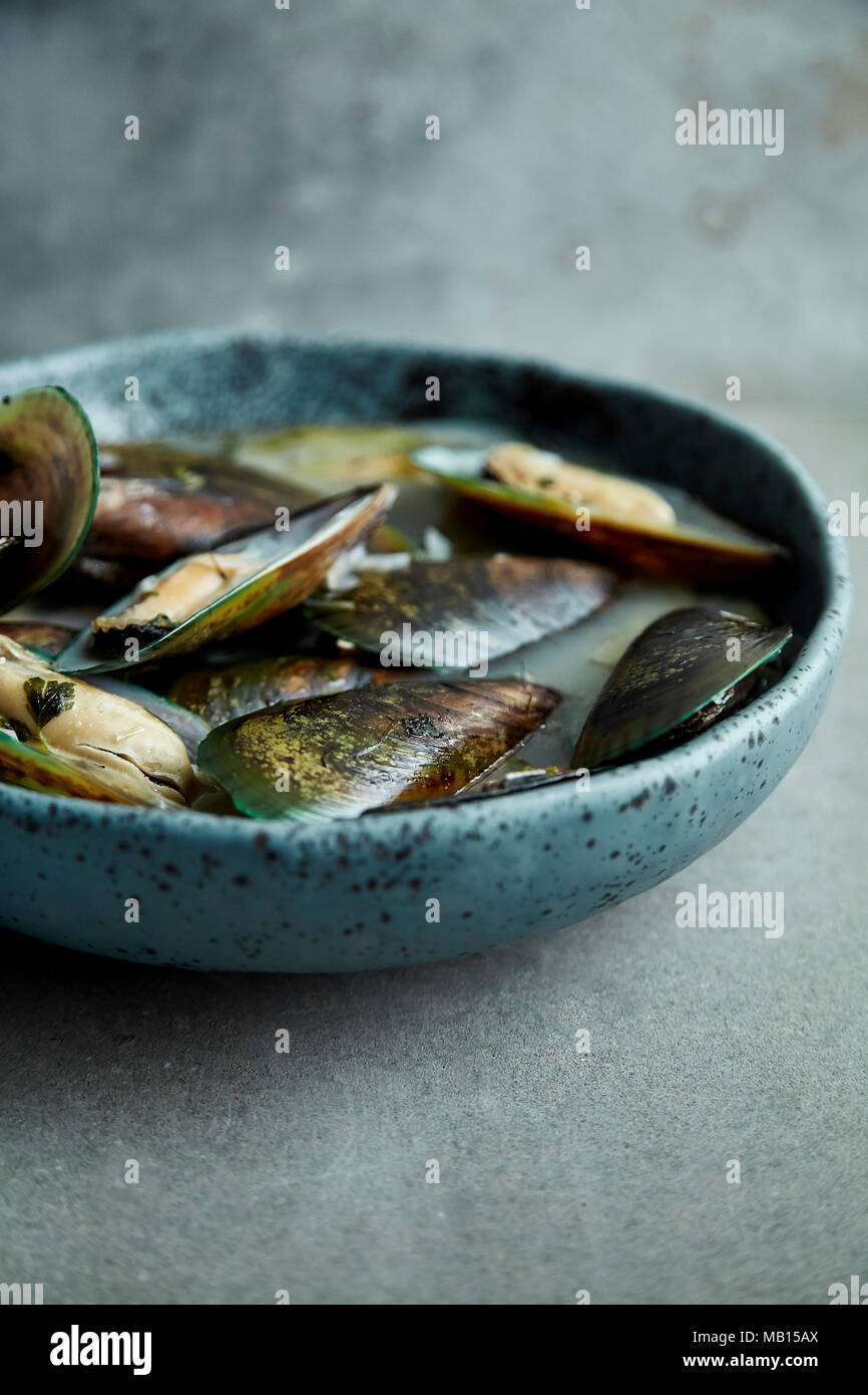 Kiwi mussels cooked in marinier sauce with white wine and parsley in hand-crafted blue ceramic plate on gray background - Stock Image