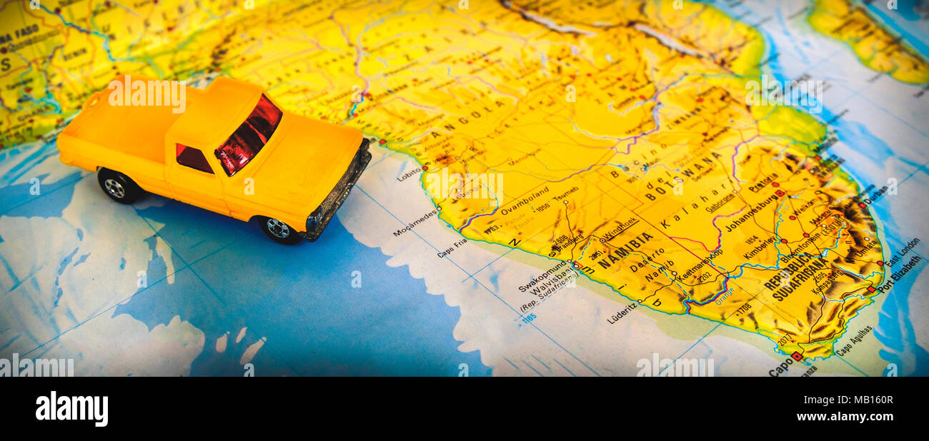 Namibia South Africa map desert road trip destination  - Stock Image