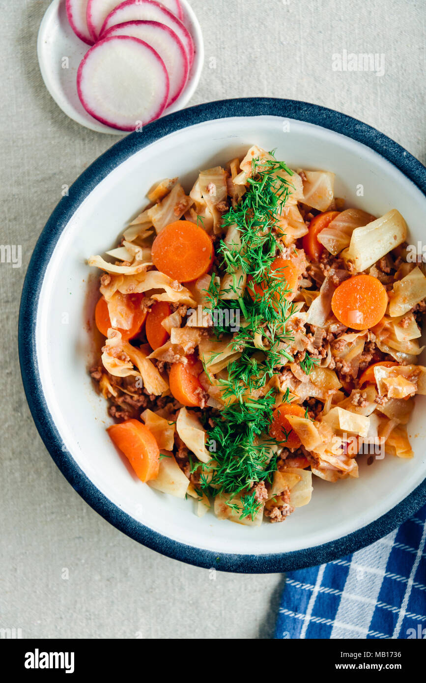 Cabbage stew with ground beef and carrot topped with chopped fresh dill served in a vintage bowl photographed from top view. Sliced radish and a blue  - Stock Image
