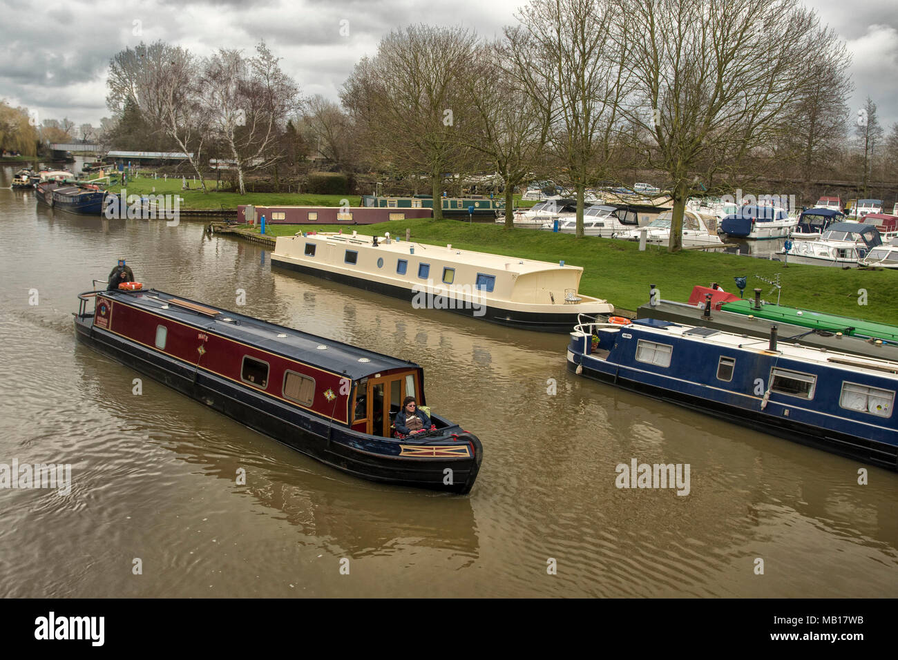 barges on the great ouse at Ely, Cambridgeshire, England, United Kingdom, Europe Stock Photo