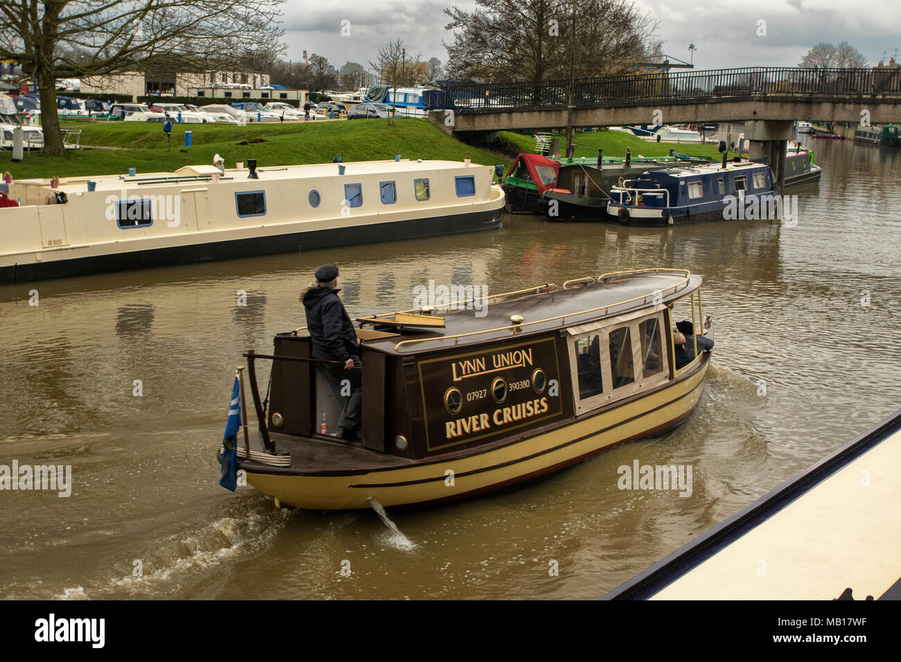 barges on the great ouse at Ely, Cambridgeshire, England, United Kingdom, Europe Stock Photo