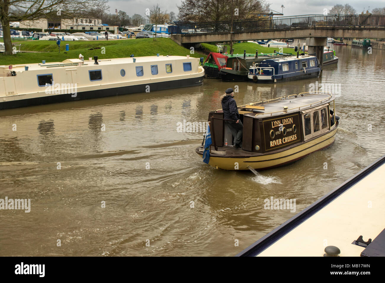 barges on the great ouse at Ely, Cambridgeshire, England, United Kingdom, Europe - Stock Image