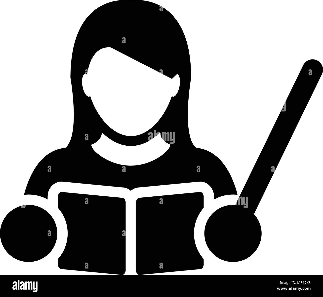 Book Icon Vector Male Student Or Teacher Person Profile: Female Teacher Classroom Black And White Stock Photos