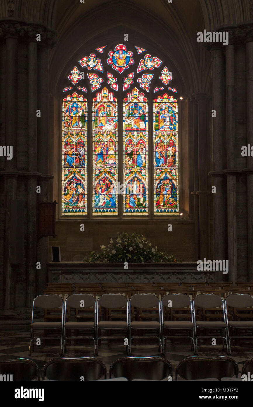 Stained glass window in ely cathedral cambridgeshire, england, uk, europe - Stock Image