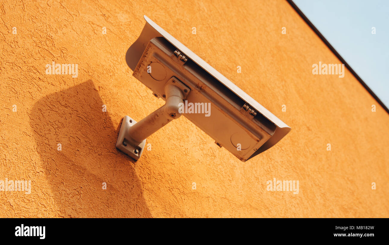 Outdoor surveillance camera for private property protection Stock Photo