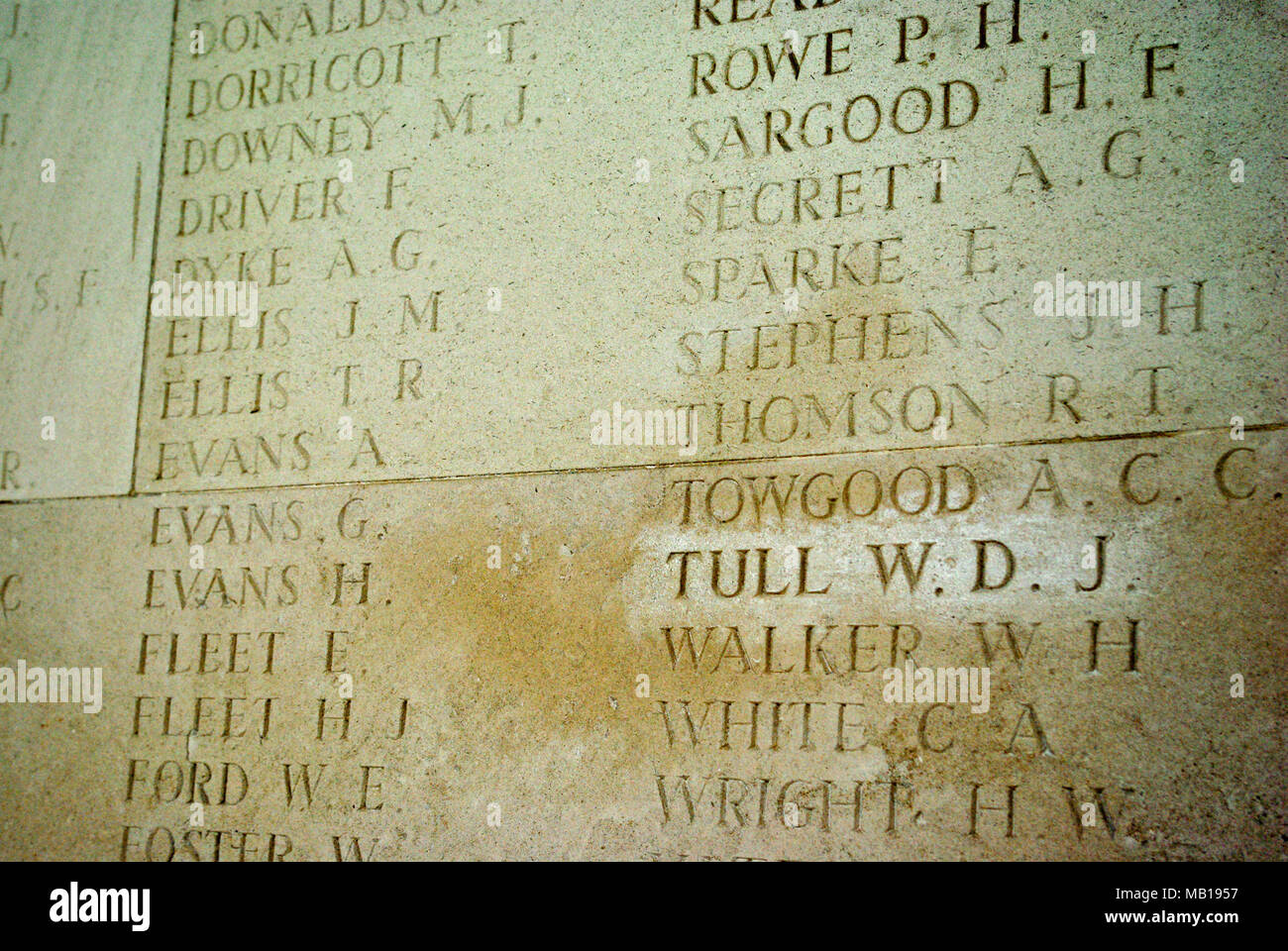 Inscription for Walter Tull on the WW1 memorial at Arras, France; he was the Northampton Town footballer and first black officer in the British Army. - Stock Image