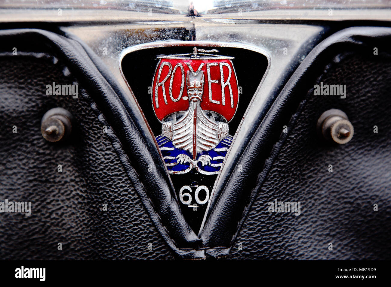 Vintage Rover logo of viking ship branding on a Rover 60 hood ornament. - Stock Image