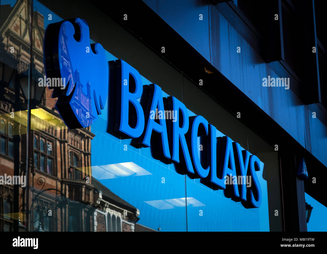 Barclays bank sign and logo, High Street, Lincoln, Lincolnshire, UK - 5th April 2018 - Stock Image