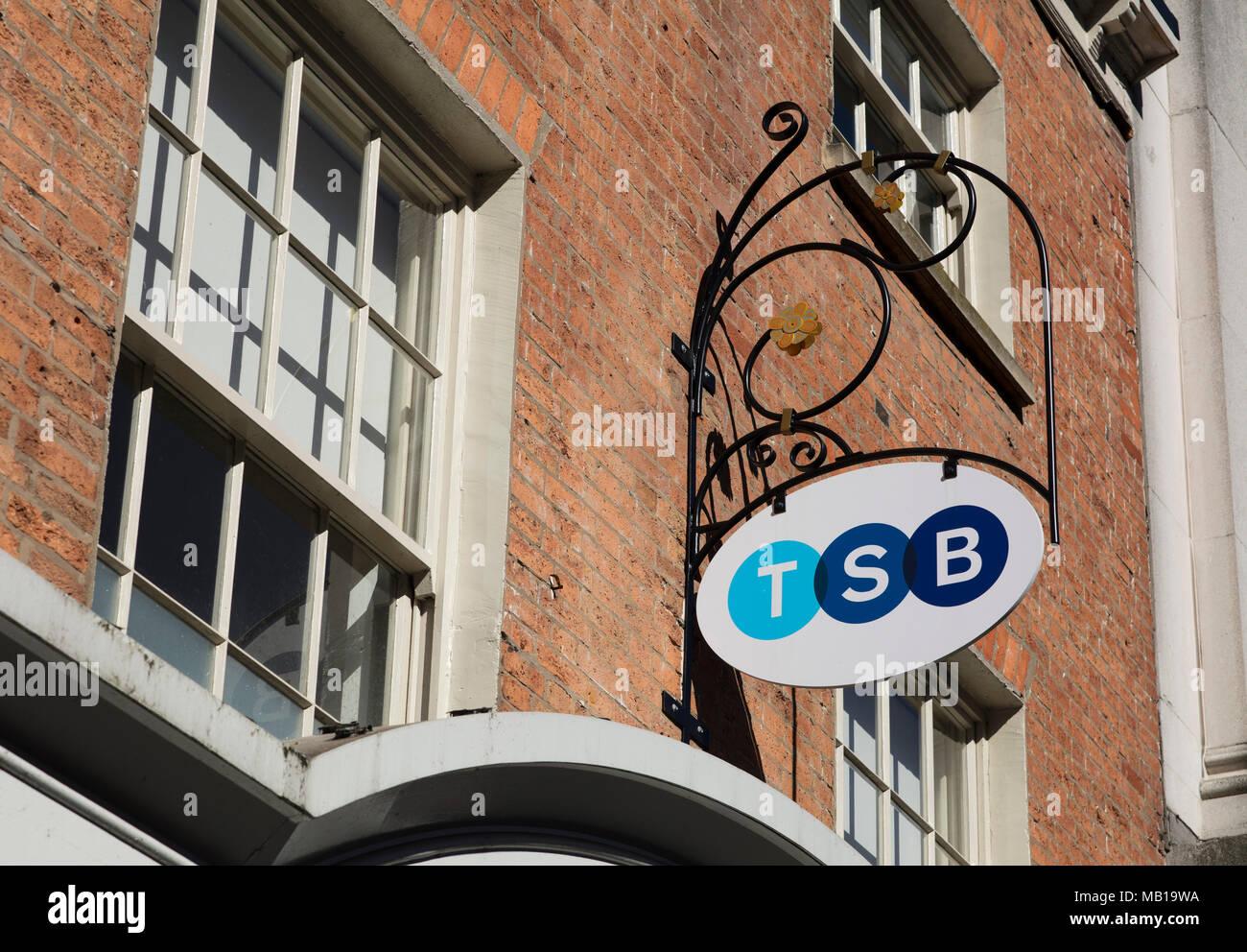 TSB Bank branding, High Street, Lincoln, Lincolnshire, UK - 5th April 2018 - Stock Image