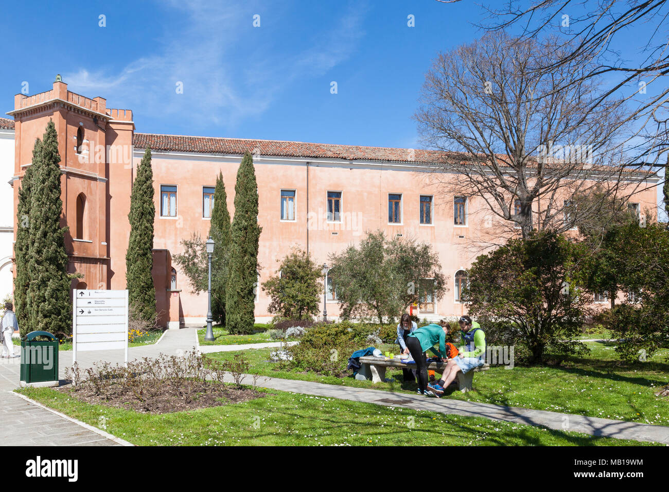 San Servolo Island, (Isola di San Servolo, Island of the Mad)  Venice, Veneto, Italy housing the Venice International University and the Insane Asylum - Stock Image
