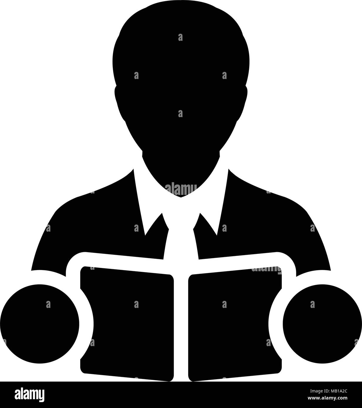 Book Icon Vector With Male Student Or Teacher Person
