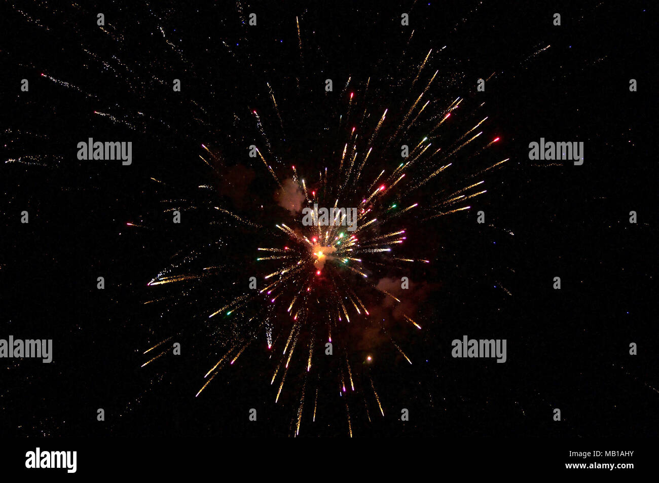 New year's fireworks at the beach - Stock Image