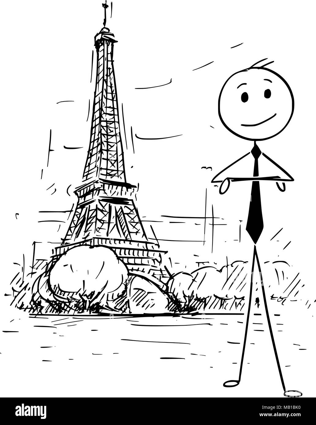 Cartoon of Businessman Standing in Front of Eiffel Tower in Paris, France - Stock Vector