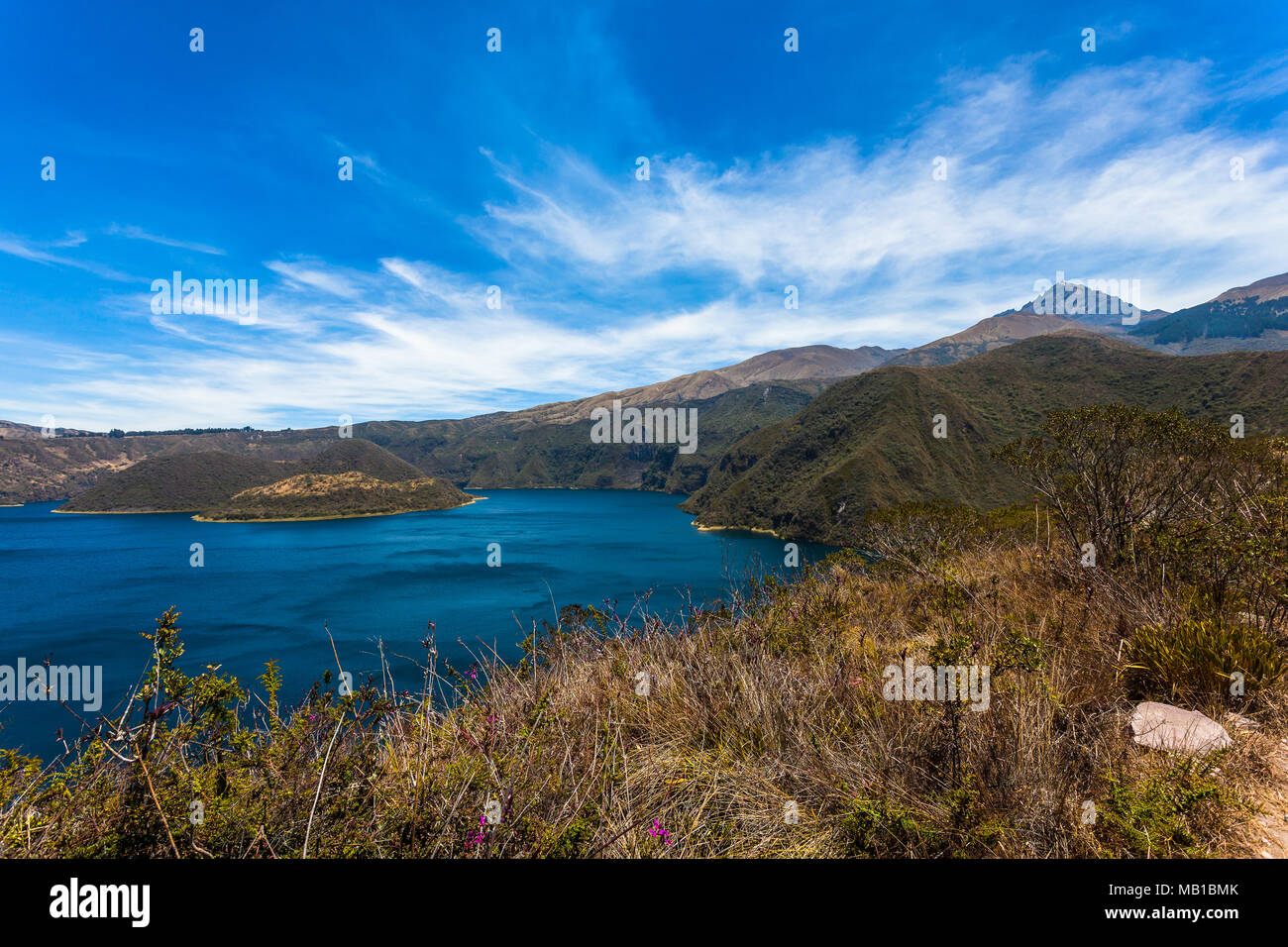 Cuicocha lagoon inside the crater of the volcano Cotacachi Stock Photo