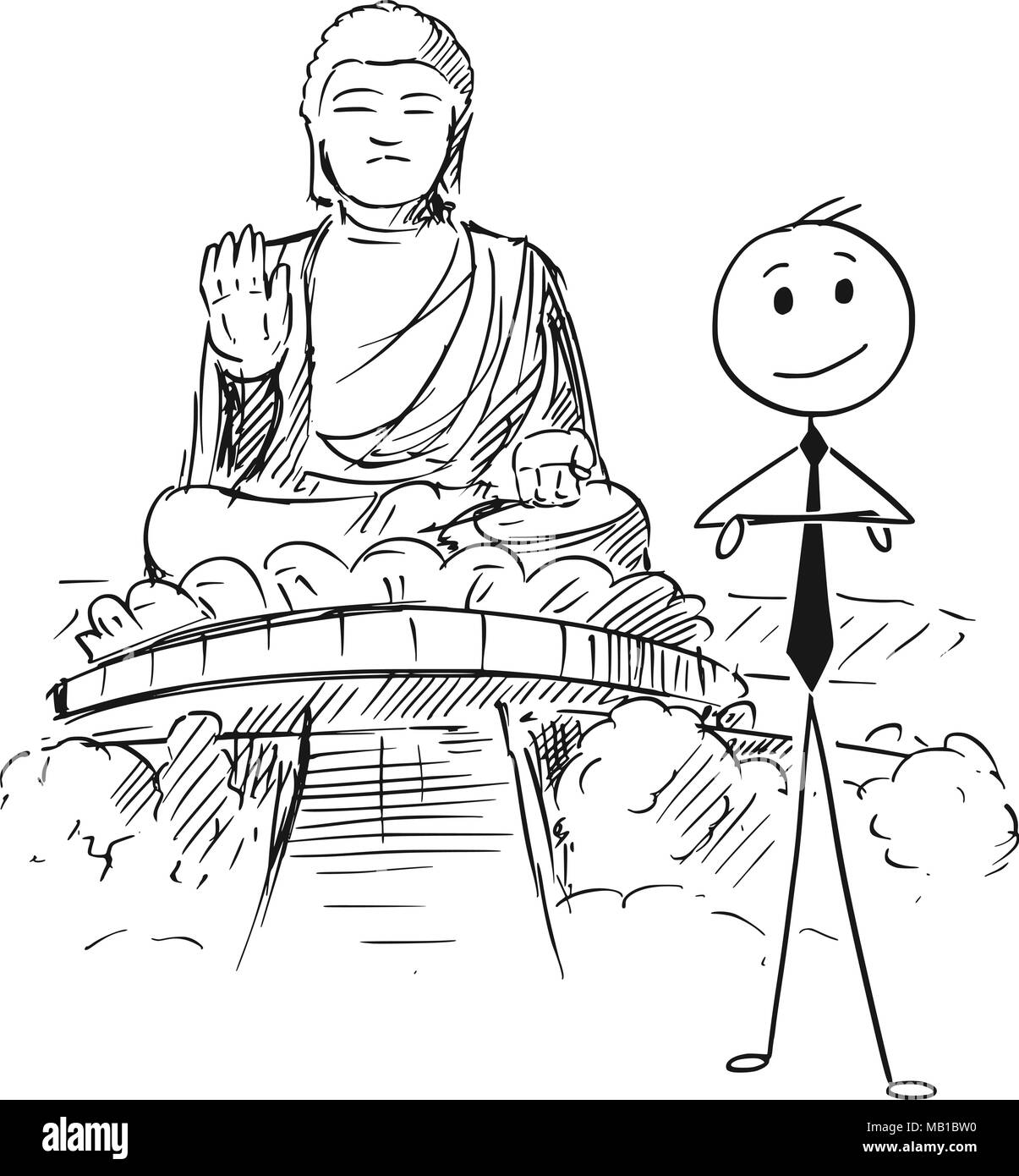 Cartoon of Businessman Standing in Front of the Tian Tan or Big Buddha statue, Hong Kong - Stock Vector