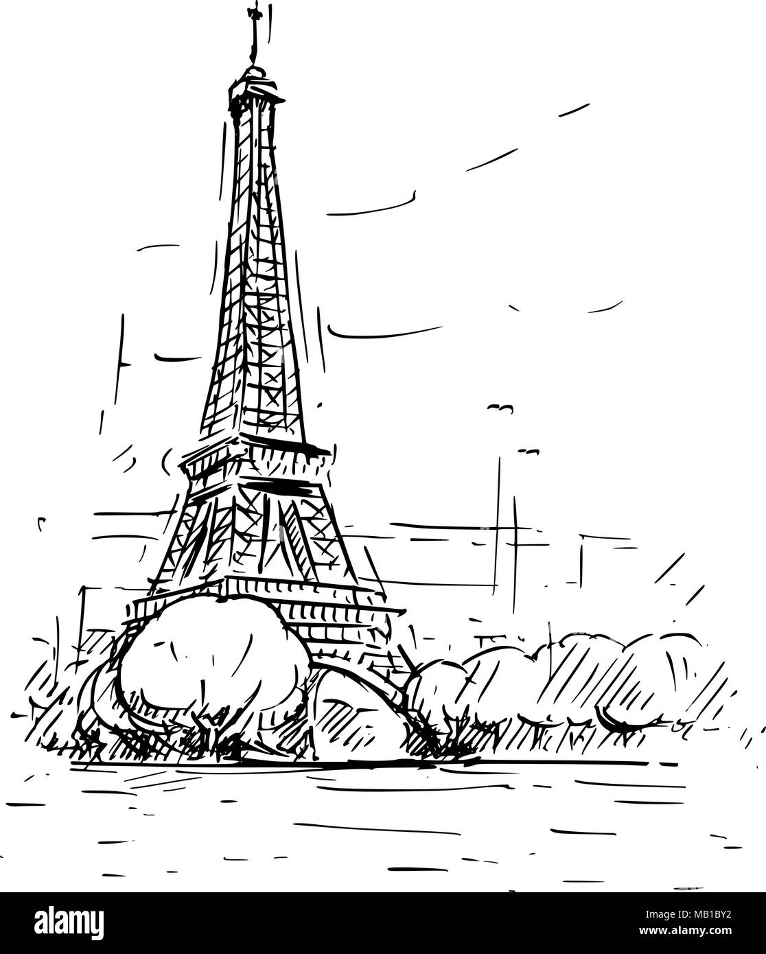 Cartoon Sketch Of Eiffel Tower In Paris France Stock Vector Image Art Alamy