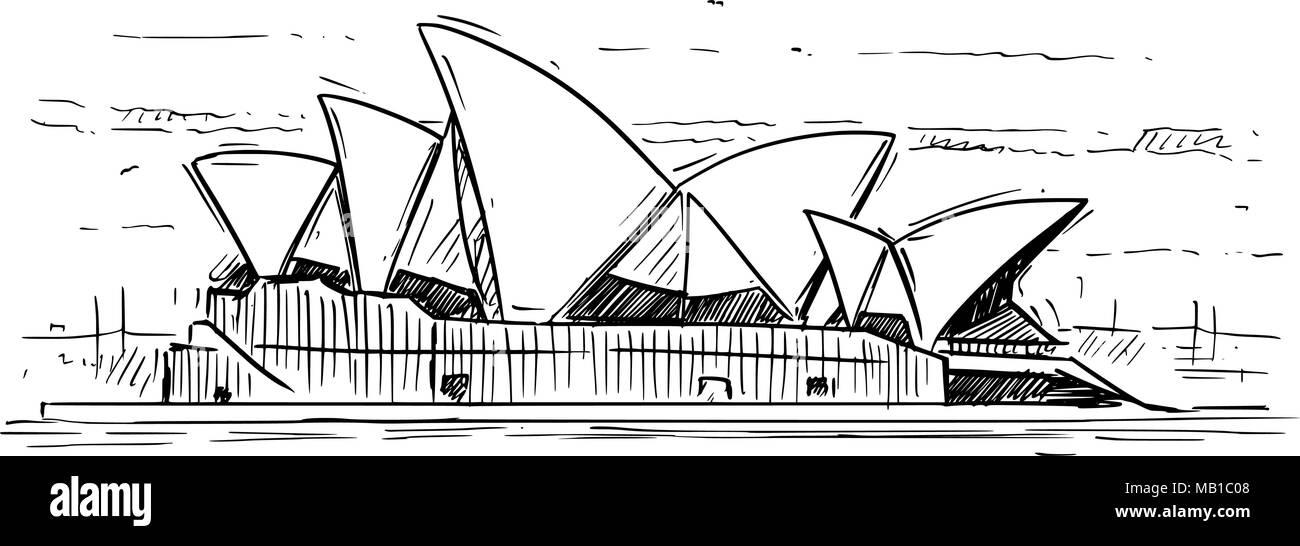 Cartoon Sketch of Sydney opera House, Australia Stock Vector