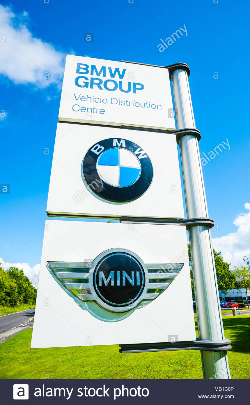BMW Group UK Ltd Group Vehicle Distribution Centre entrance sign for Mini & BMW in Thorne, Hatfield Near Doncaster, England UK Stock Photo
