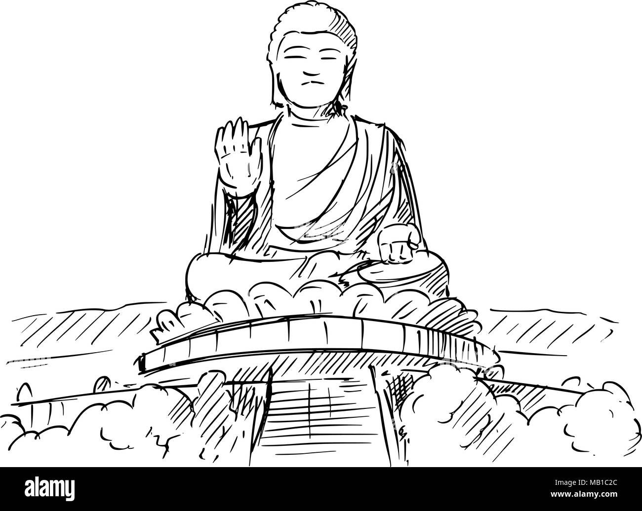Cartoon Sketch of the Tian Tan or Big Buddha statue, Hong Kong - Stock Vector