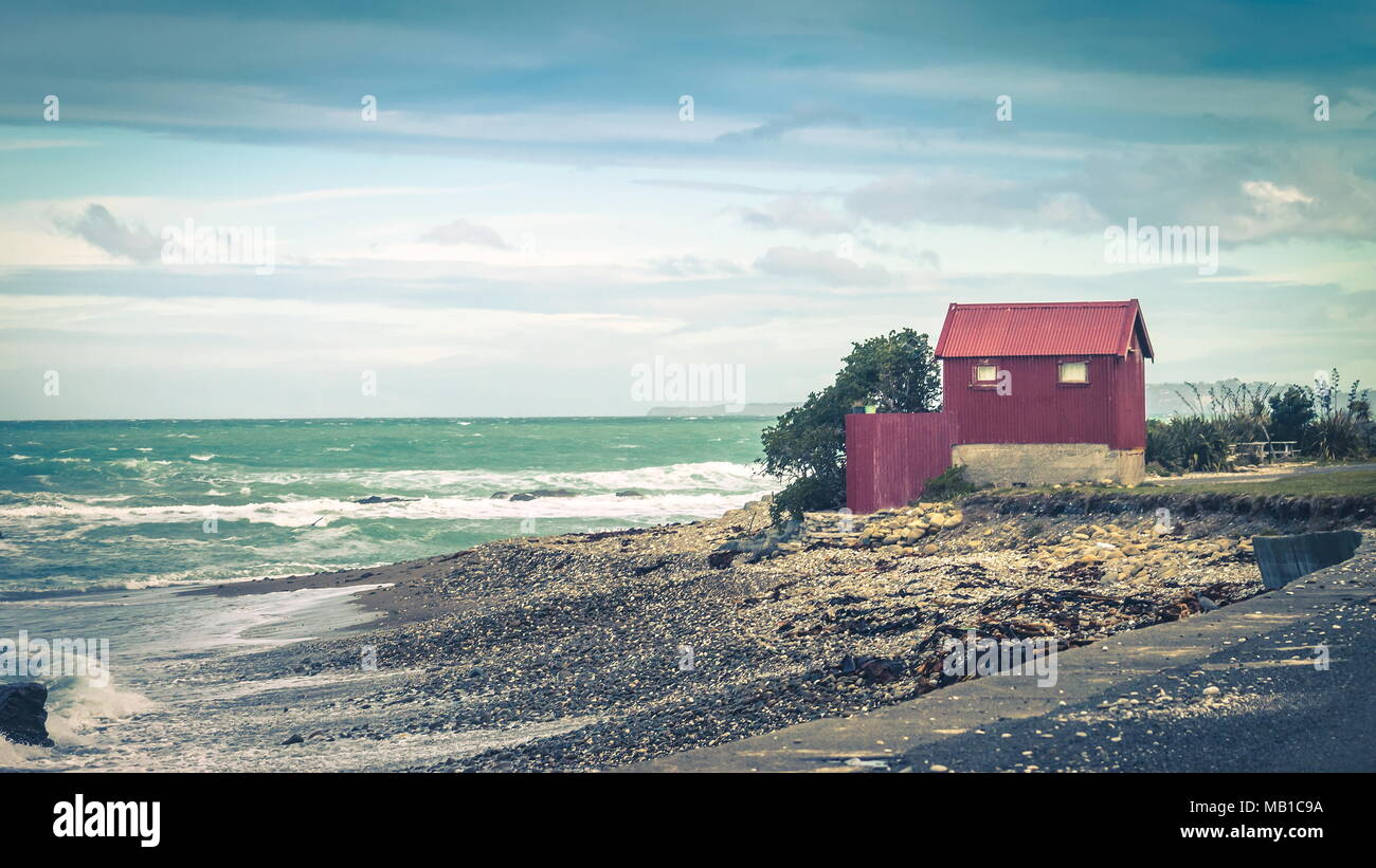 A Tin Hut on a Coastal Highway with copy space. - Stock Image