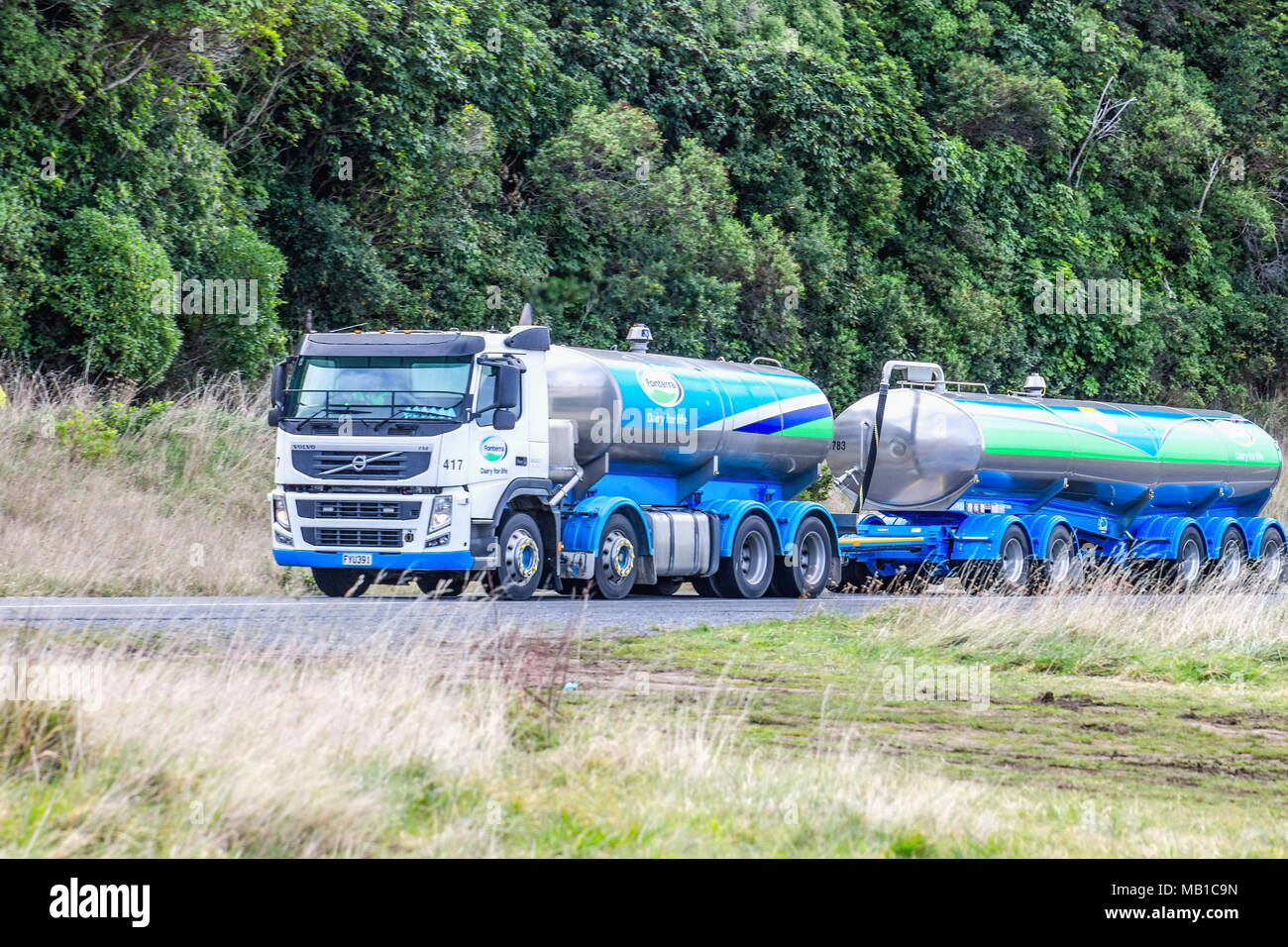 Kaikoura, New Zealand - 26 August, 2016: A Fonterra Milk Tanker travelling along State Highway 1 prior to the November 14th earthquake that same year  - Stock Image