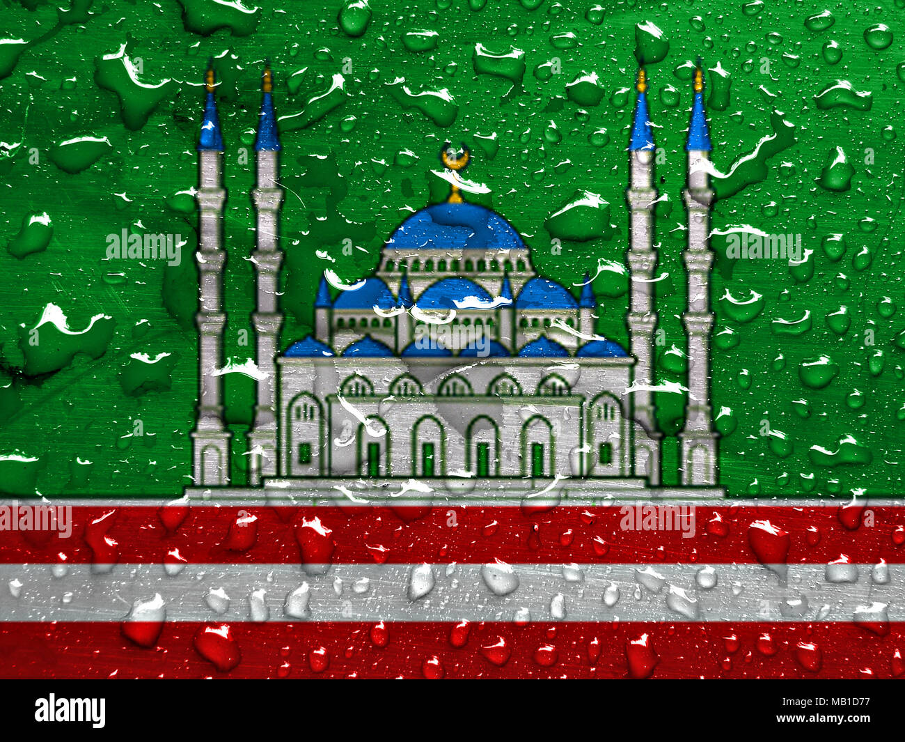flag of Grozny with rain drops - Stock Image