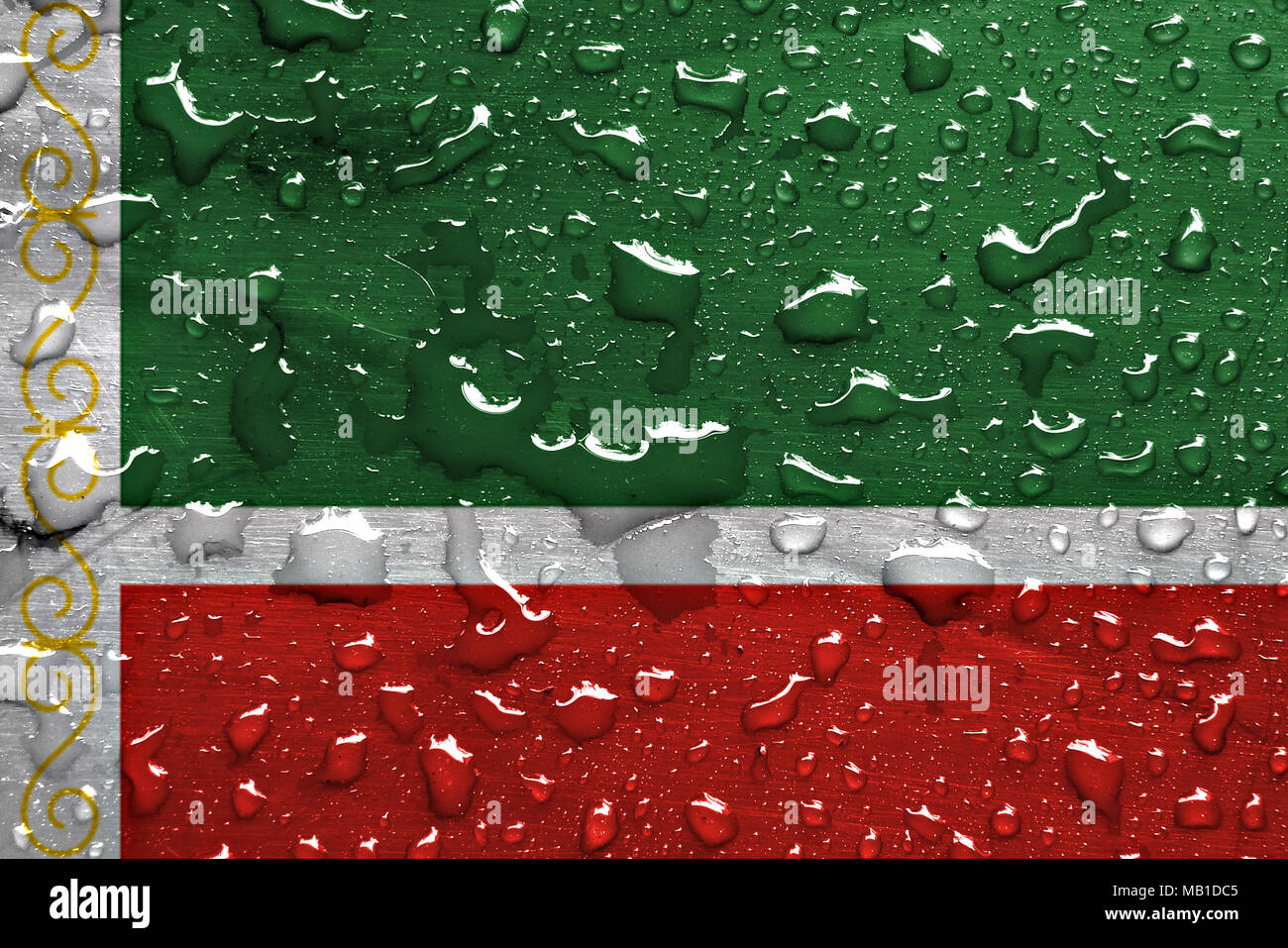 flag of Chechnya with rain drops - Stock Image