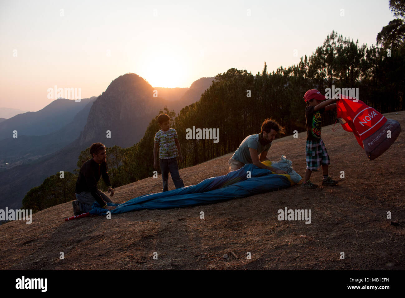 preparing for take off in El Penon, Mexico Stock Photo