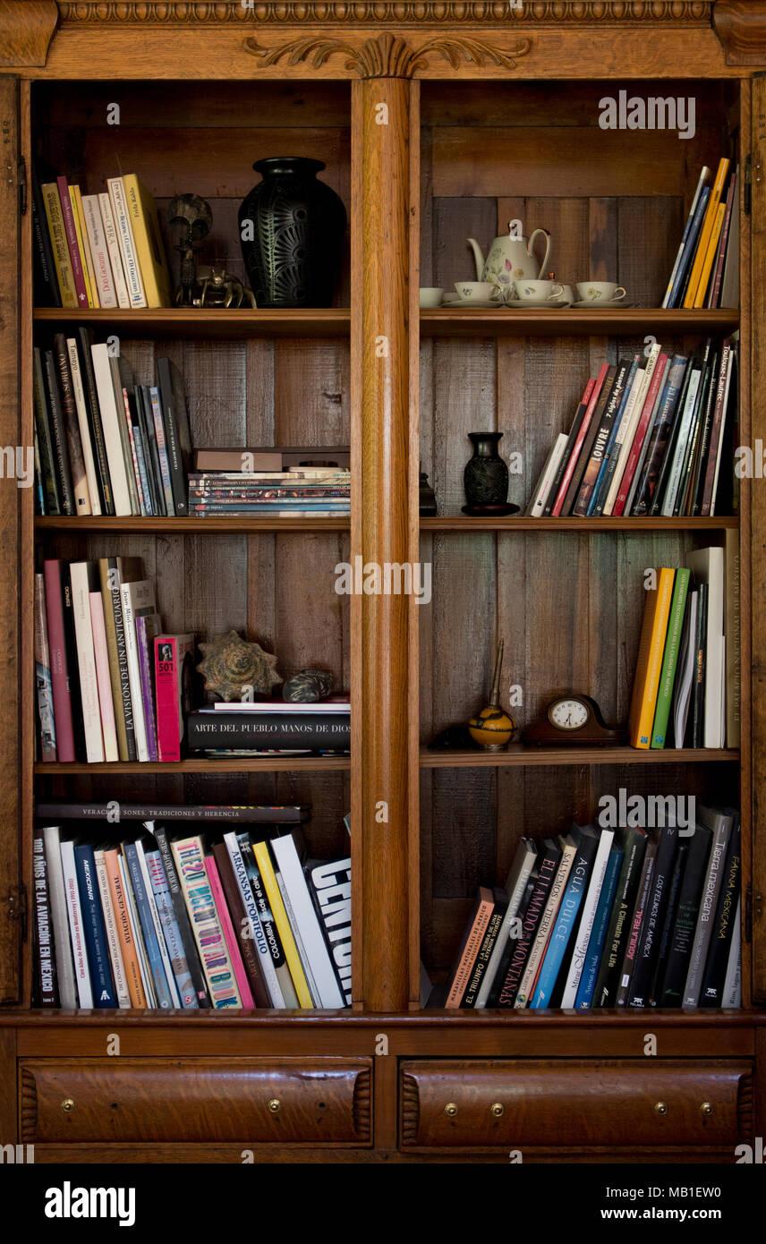 Wooden Bookshelf Stock Photos Images