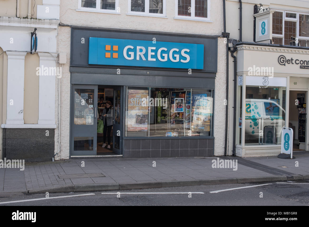 A small little Greggs the bakers food outlet on the highstreet in Newport in Shropshire, one of the 1764 in the UK - Stock Image