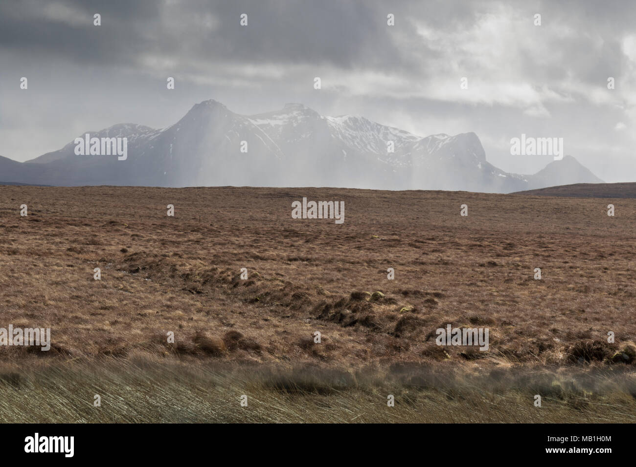 The Moine moorland with Ben Loyal, Sutherland - Stock Image