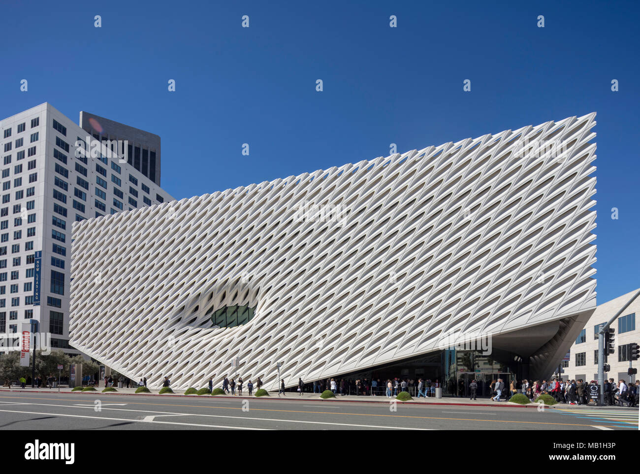 The Broad contemporary art museum on Grand Avenue in Downtown Los Angeles, California, USA - Stock Image