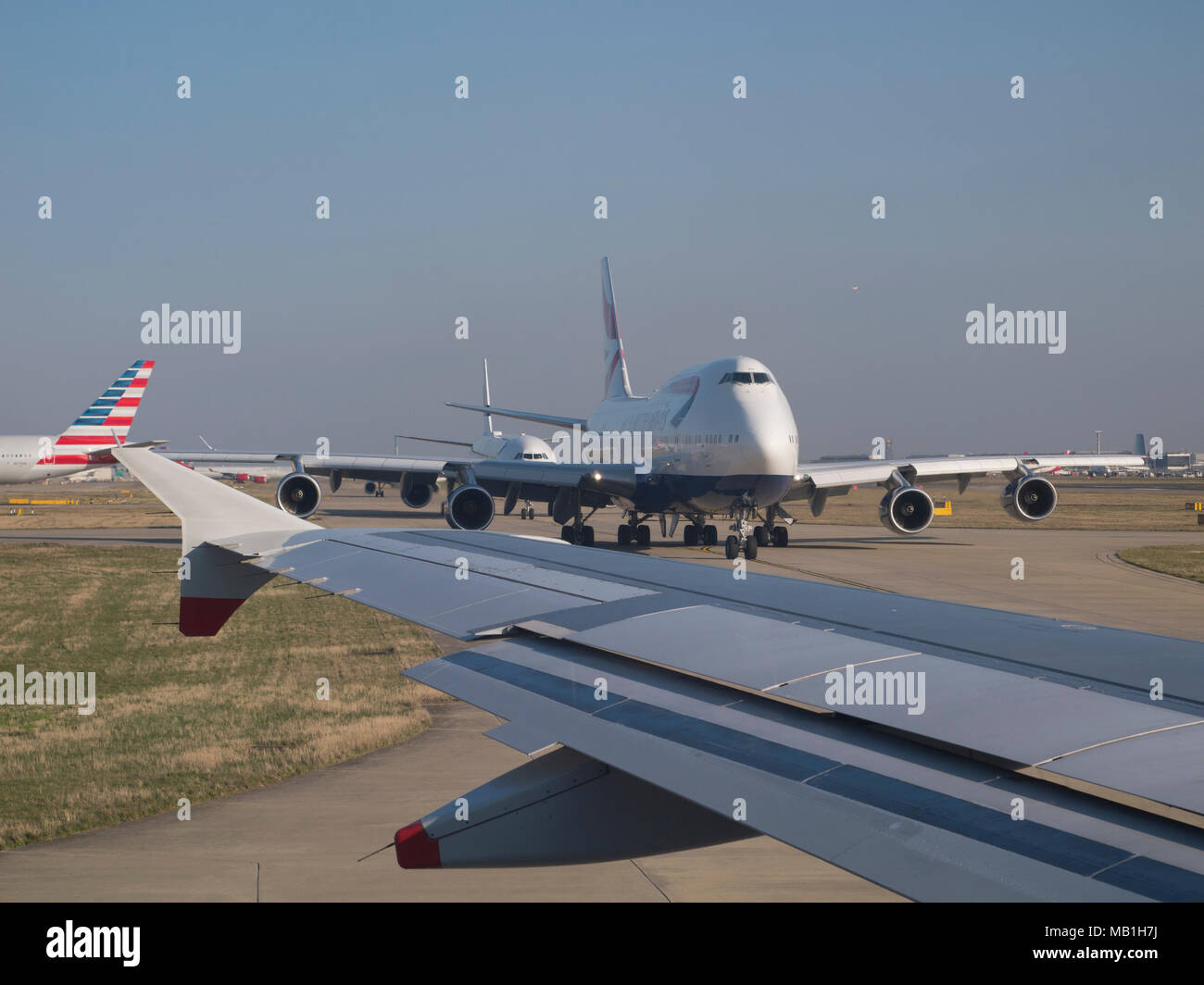 Aircraft on taxiway, London Heathrow - Stock Image